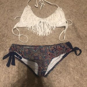 Paisley bottom and white two piece